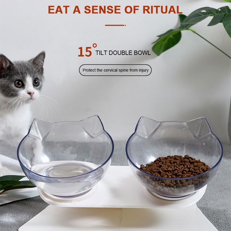 Cat Bowls & Feeders Feeder Non-Slip Double Bowl Dog With Stand Pet Feeding Water For Cats Food Raised