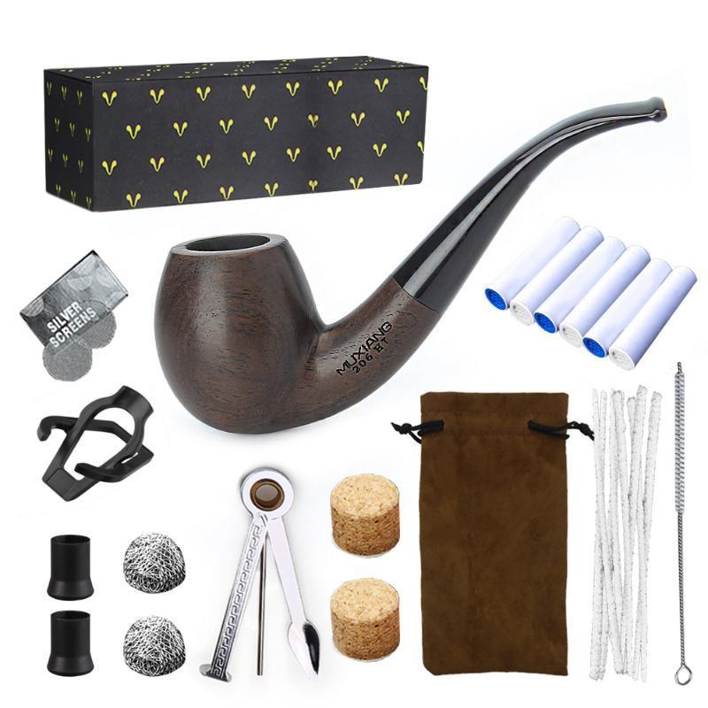 Feuil de combustion en bois portable en bois massif Fumeur de tabac portable avec accessoires de fumée Tuyaux-cadeaux de gadget pour hommes