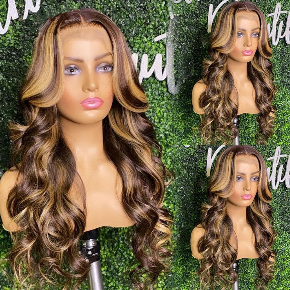 Soulignez les poils humains de perruque 13x4 dentelle perruque frontale perruque brune miel blonde blonde couleur pour femmes préregurées de 150% de densité