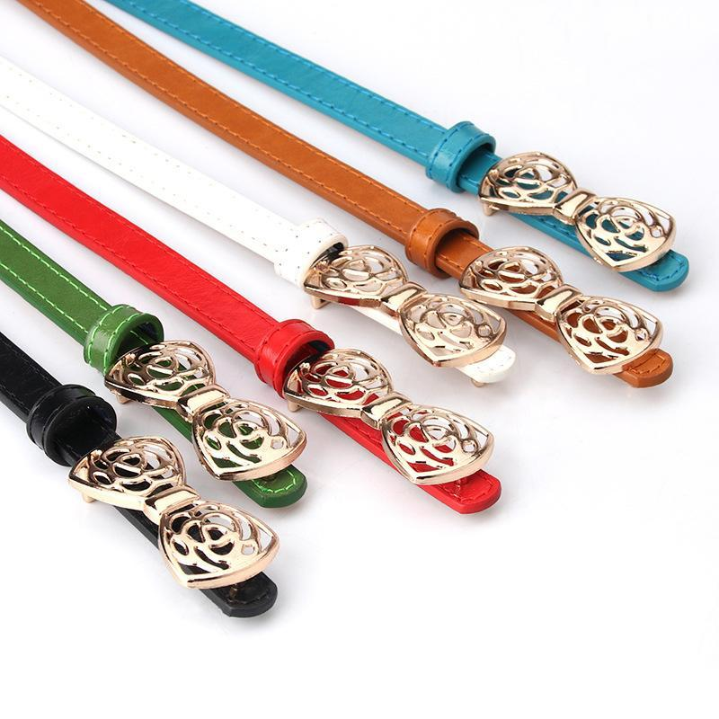 Skinny fino couro cinta cinta mulheres cor sólida cor doce bowknot fivela pu cintura de moda cintos decorativos
