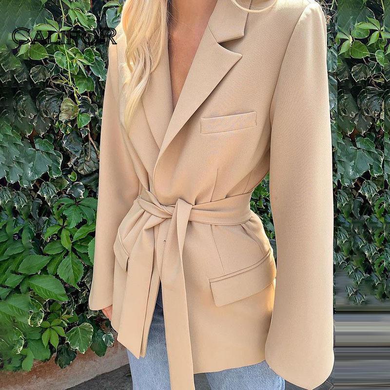 Frauenanzüge Blazer 2021 Fall Frauen Kleidung Massivanzug Mantel mit Gürtel Langarm Revers Für Freizeitkleidung Weiß Blazer Ol Elegant
