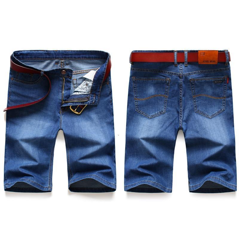 Media longitud de los hombres de verano estilo delgado delgado ajuste de jeans elástico pantalones cortos jóvenes pequeños shorts versátiles rectos