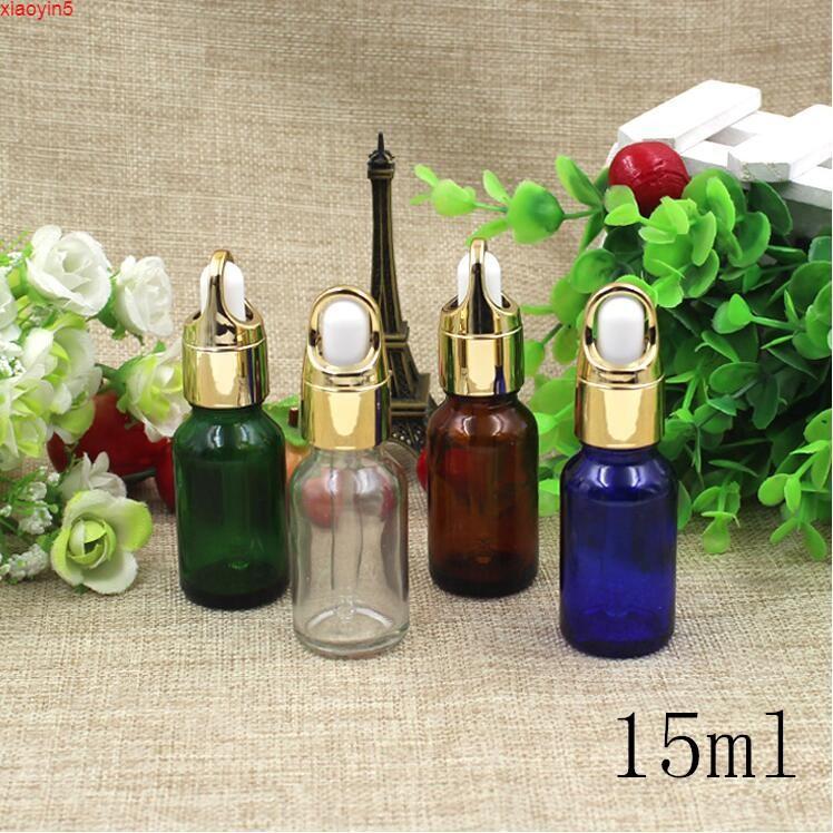 Высокая Quatity20PCS Gold Clear Blue 15ML пустые маленькие стеклянные бутылки капельницы Parfume масло жидкие упаковки FLACON PARFUM контейнер из ладава