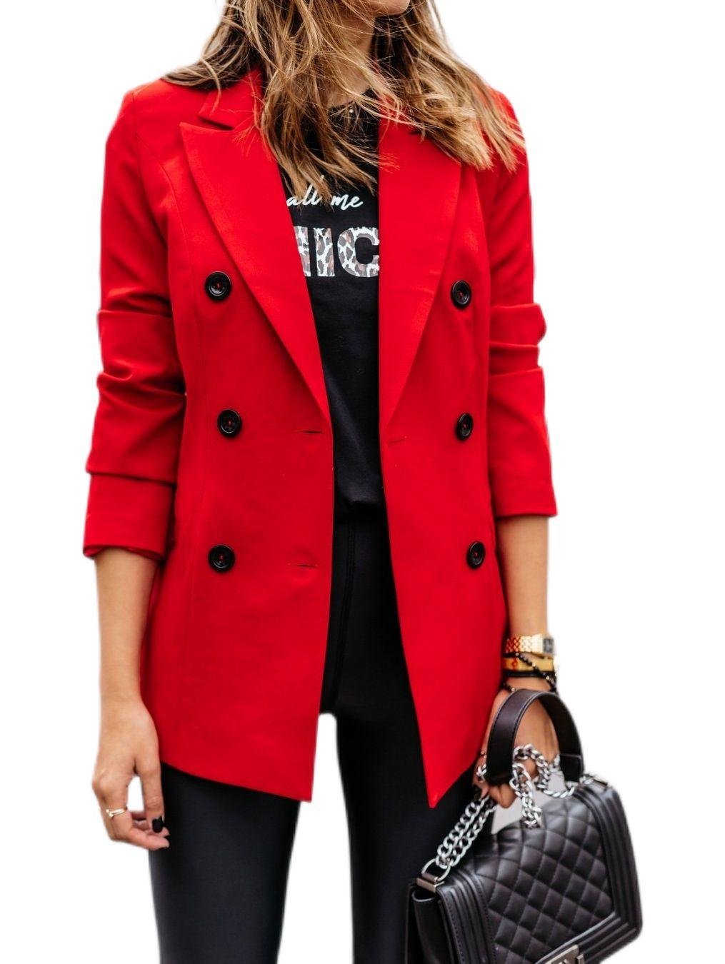 Neue Herbst Winter Frauen Blazer Mode Damen Mantel Mantel Slim Trenchcoat Blazer Winter Langarm Jacke Ol Blazers Formal