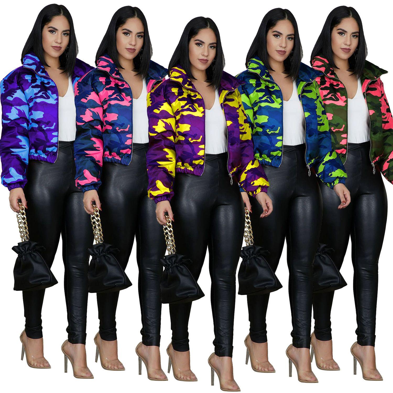 Kamuflaj Yaka Yaka Bayan Aşağı Gevşek 5 Renkler Seçeneği Sonbahar Kış Tasarımcısı Kadın Parkas Rahat Giyim