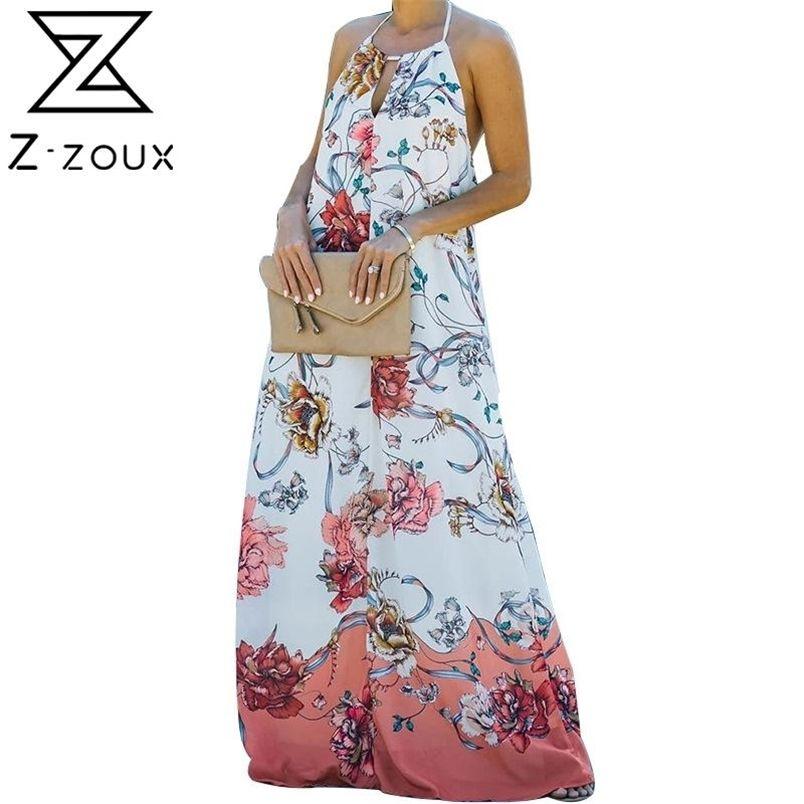 Women Dress Backless Print Bohemia Sexy Long Floral Maxi es Sleeveless Loose Plus Size Summer es 210513