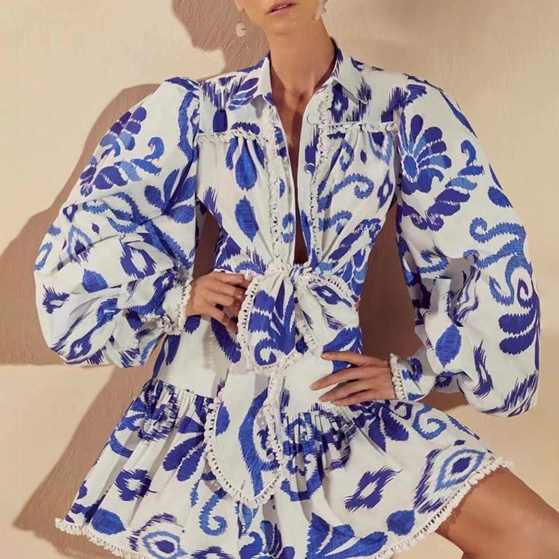 Üst marka tasarımcı etek gündelik elbiseler yaz saçaklı bandaj gömlek + yüksek bel baskılı a-line suit kadın trend