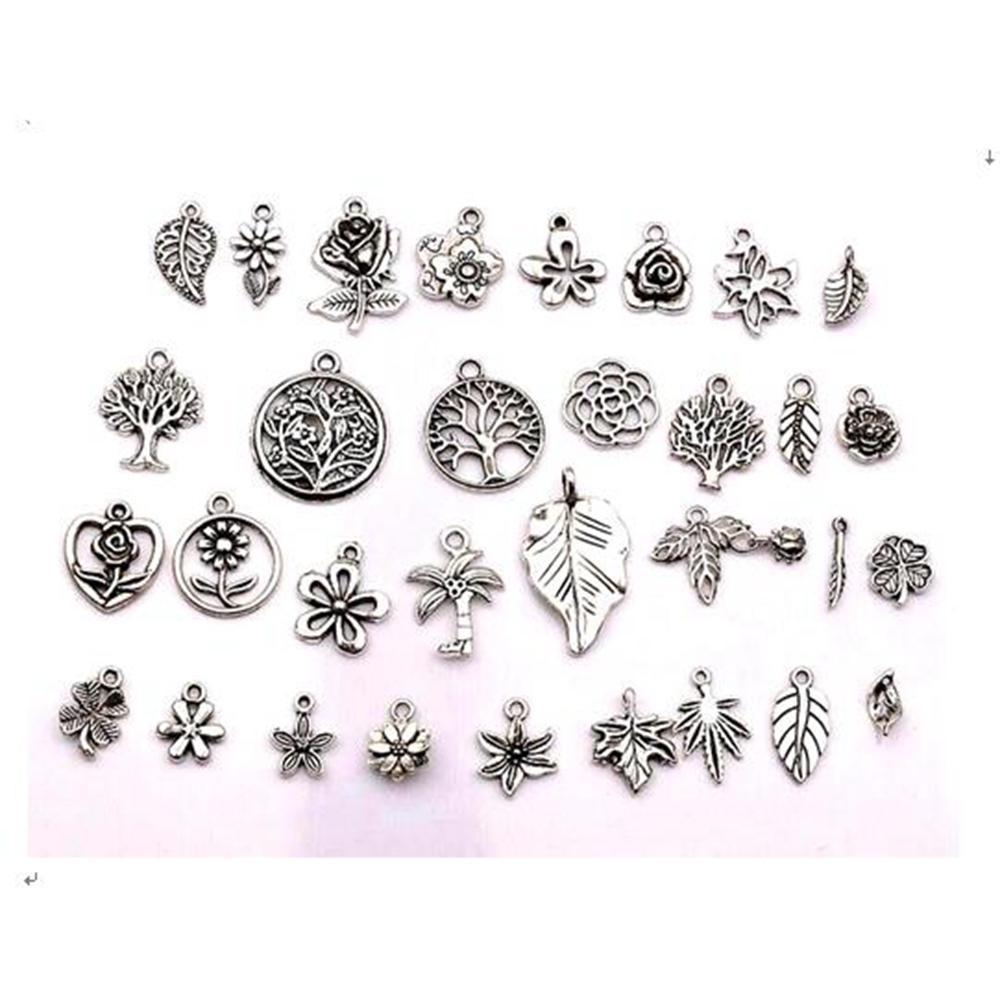 160 قطع العتيقة الفضة الزهور المختلطة، الأشجار، الأوراق سحر المعلقات لصنع المجوهرات، أقراط، قلادة diy الملحقات