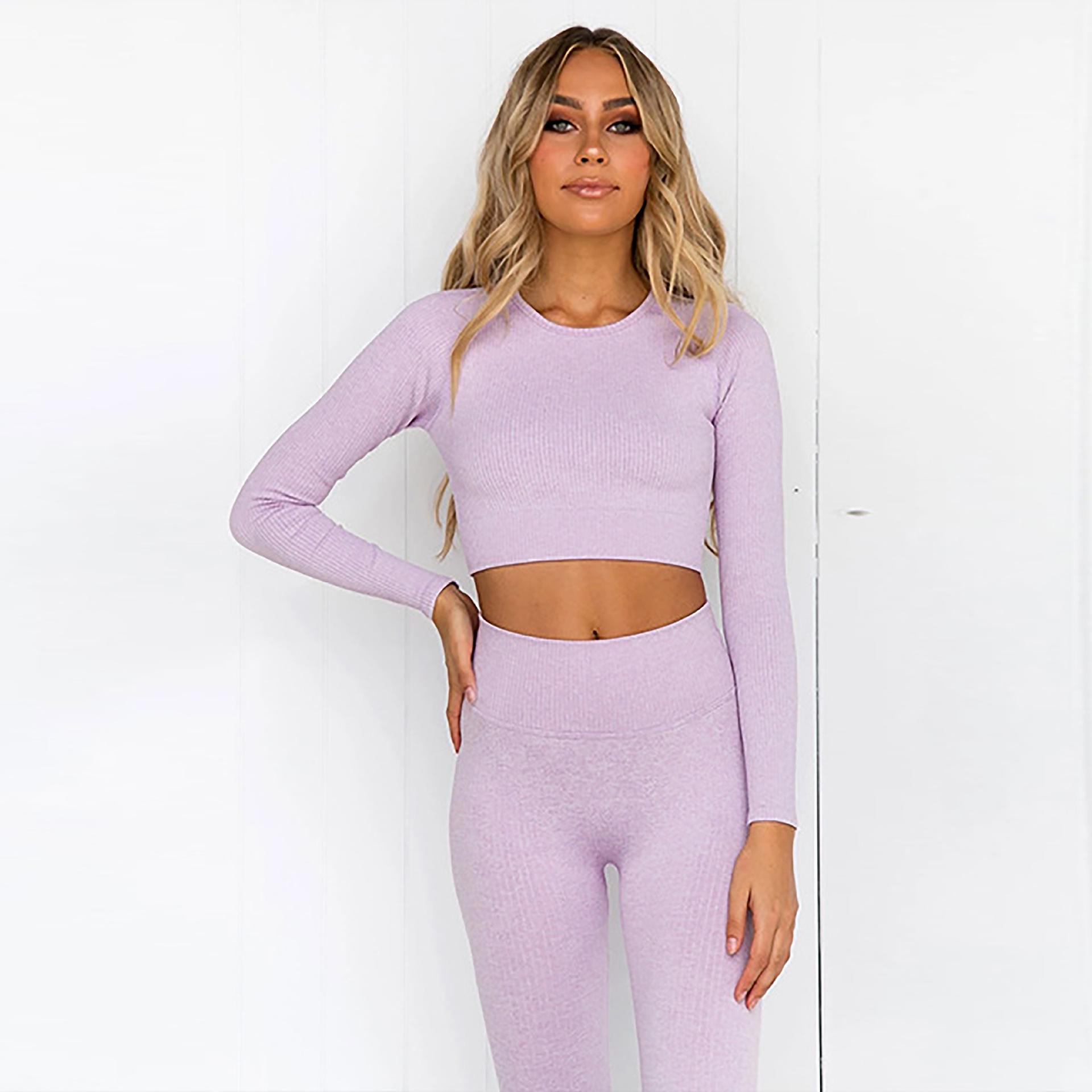 Ücretsiz Gemi Örme Dikişsiz Seksi Spor Giysileri kadın sıkı montaj t-shirt sonbahar ve kış spor giyim Reveh risper yoga giyim