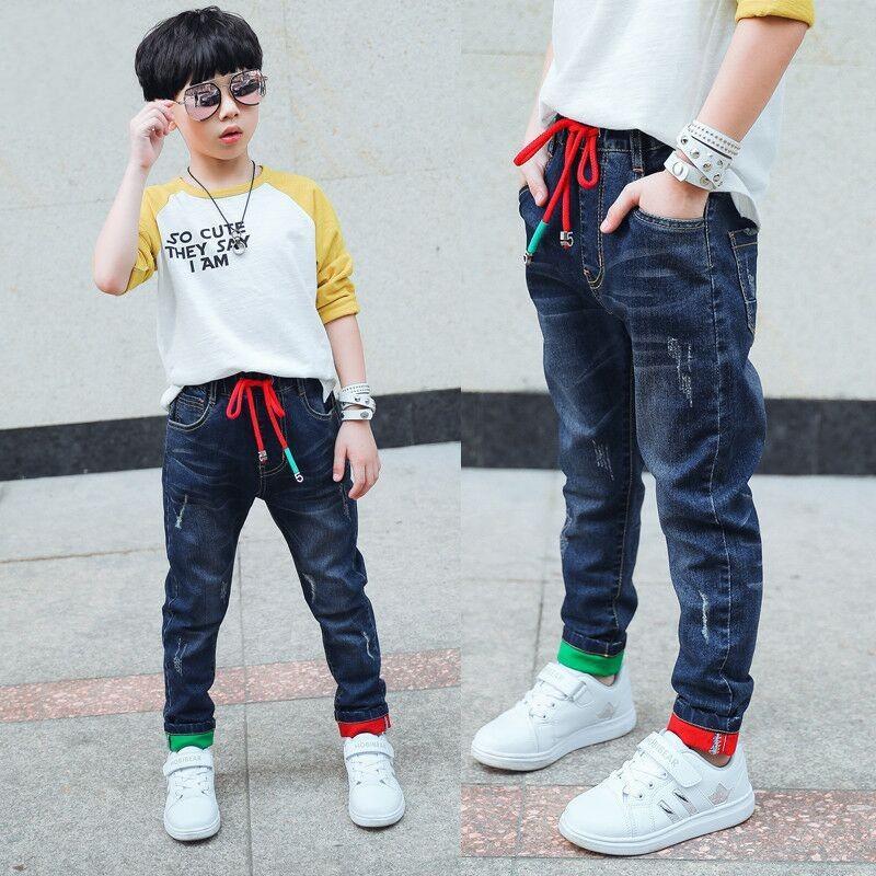 Брюки Детские брюки моды мальчики джинсы дети разорванные леггинсы весенние джинсовые одежды детские повседневные джинс младенца от 4 до 14 лет 251 z2