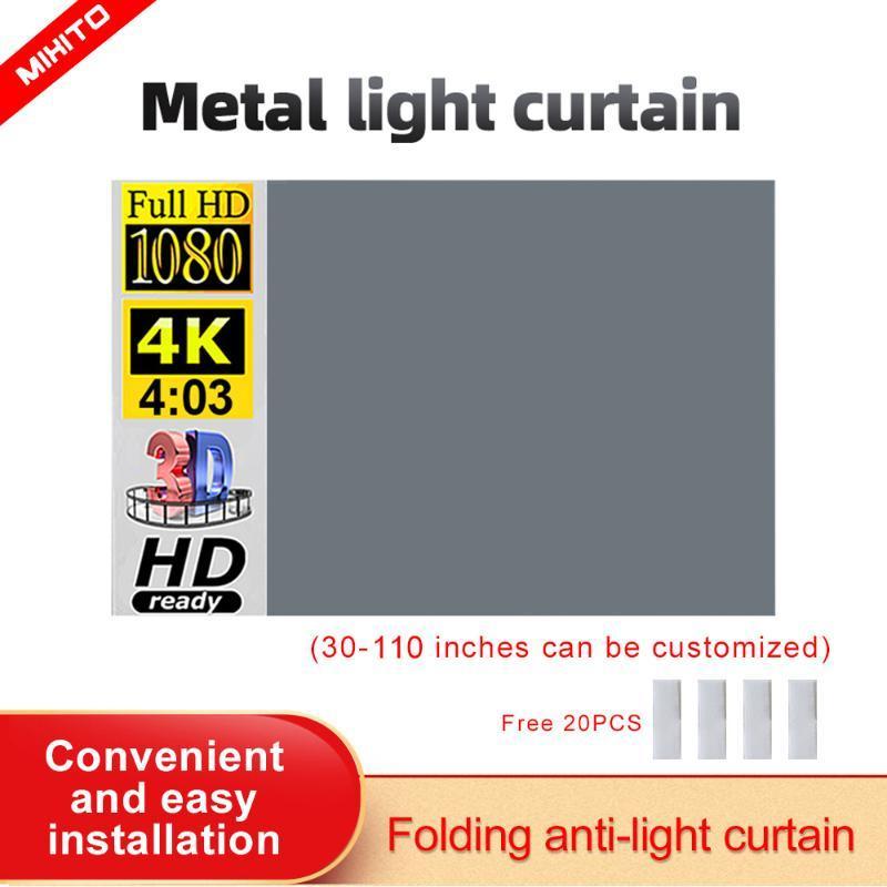 Écran de projection Mixito Projecteur-Écran 4: 3 100 84 72 60Inch 1080P HD Portable Films Portable Films pour Home Cinema Outdoor Indoor