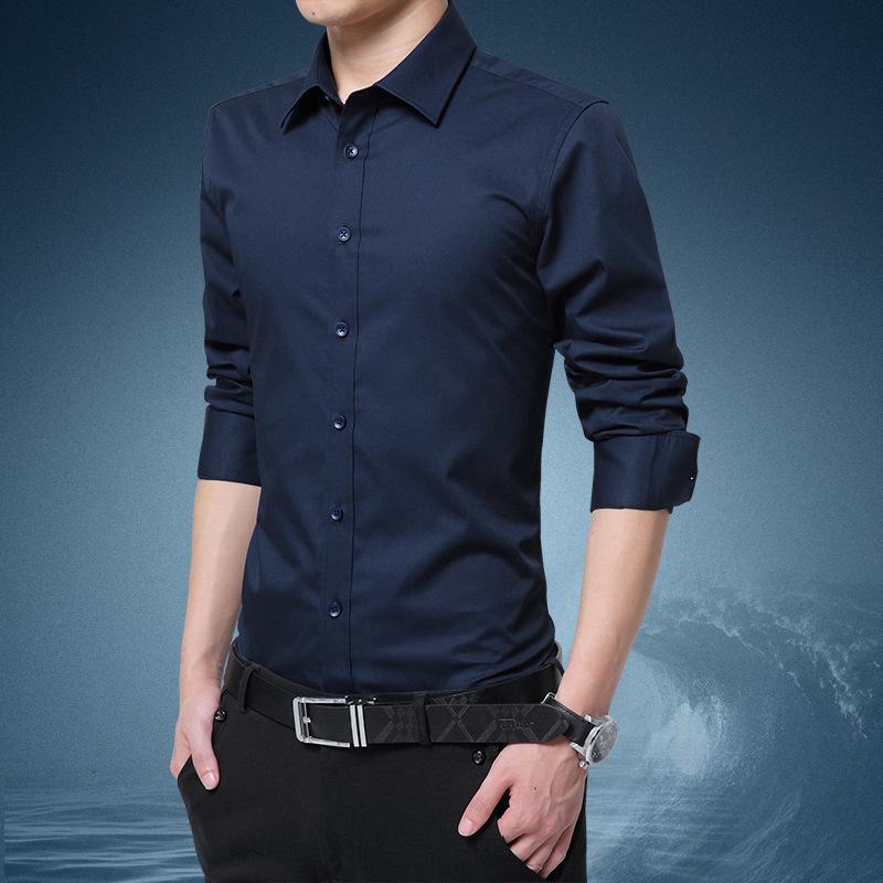 Camisa de manga larga Hombre Primavera y otoño Otoño Ocio Ocio Joven Pulgada Slim Supersize Professional