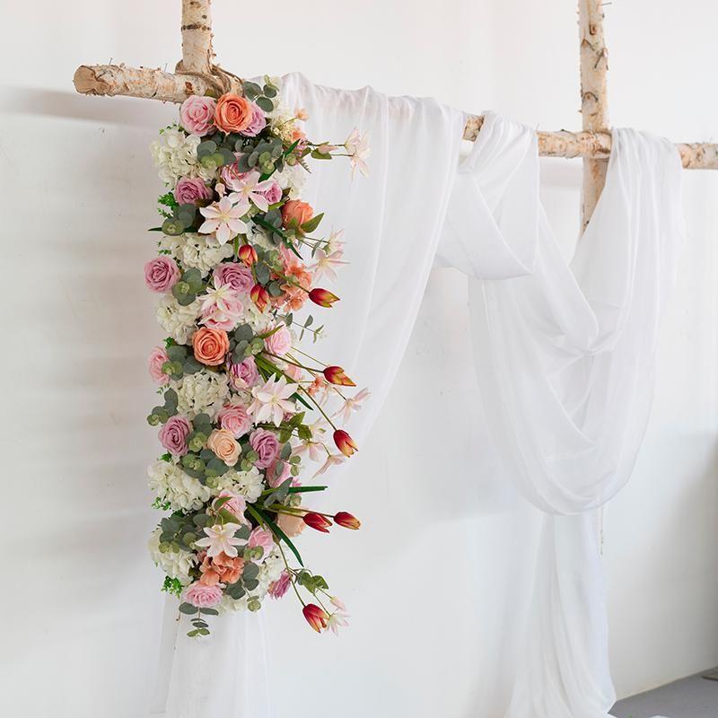 Flores decorativas grinaldas 1m flower artificial fileira casamento decoração decoração arco festa evento loja abertura local de abertura de seda estrada citada flor