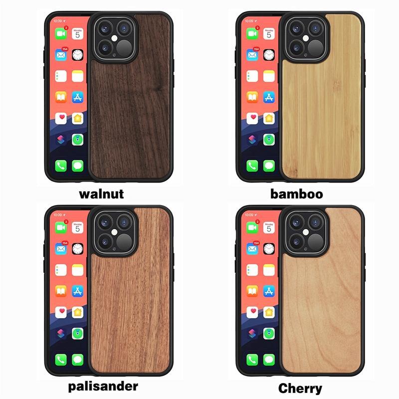 Для iPhone 13 12 11 Pro Max X XS XR Максимальный деревянный корпус Реальные бамбуковые деревянные чехлы задняя крышка с токоведным TPU DHL