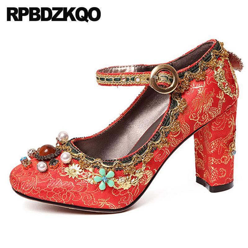 Jewel Kadife Ayak Bileği Kayışı Yüksek Topuklu İnci Lüks Işlemeli Bayanlar Saten Elbise Ayakkabı Kızıl Kare Ayak Tıknaz Gelin Pompaları Düğün