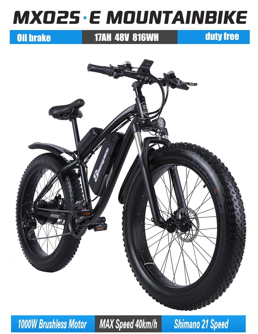 EU Shengmilo 26 인치 전기 산악 자전거 1000W 17Ah 48V 리튬 배터리 도시 지방 타이어 자전거 ebike