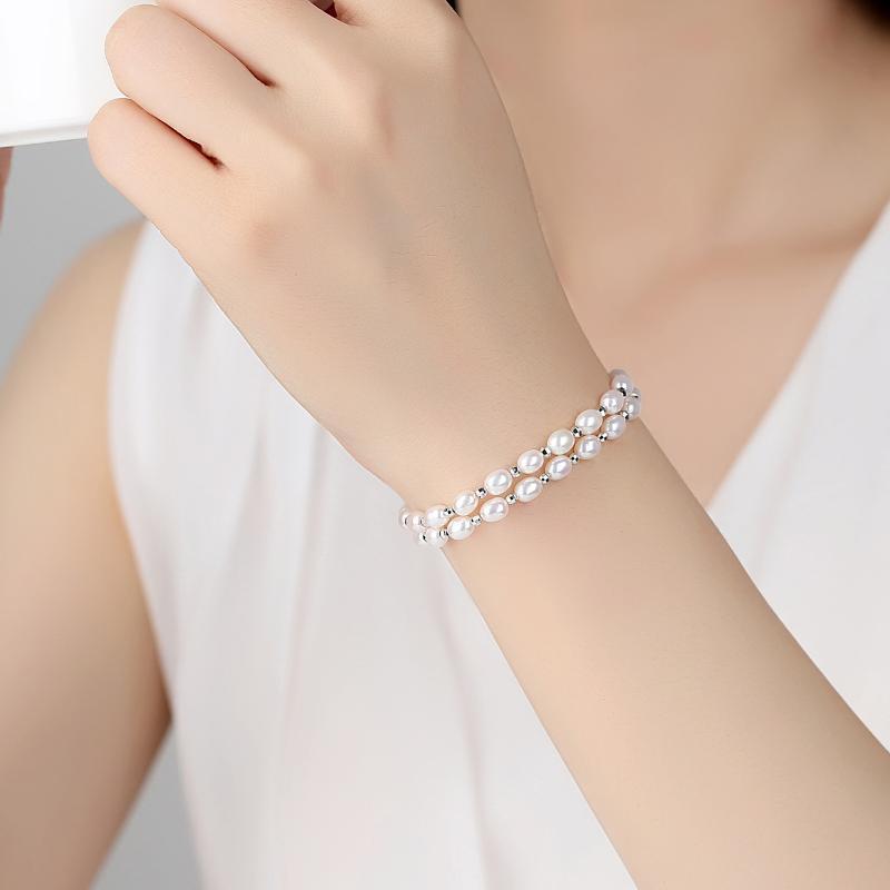 Bangle TB-141 S925 пресноводный жемчужный браслет маленький свежий двойной слой корейская девушка мода