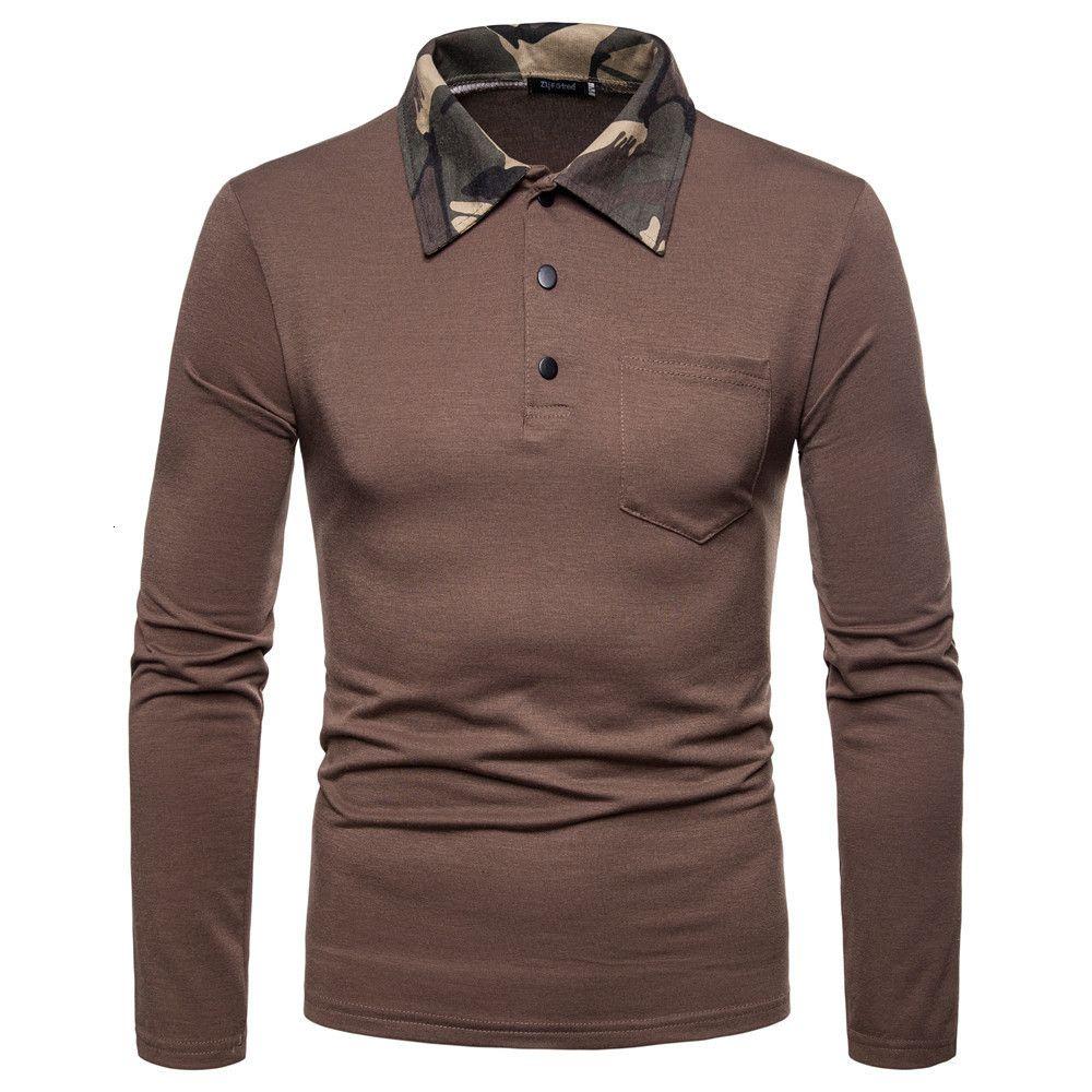 Outono e inverno 2020 homens t-shirt casual lapela manga longa cor sólida base camisa2bgp