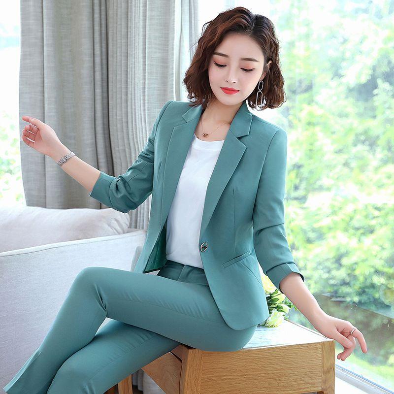 Büroarbeitshose Anzüge Frauen Anzug Business Dame Uniform Weibliche 2 Stück Set Blazer Hosen Jacke Herbst Winter 2019 Große Größe 4XL