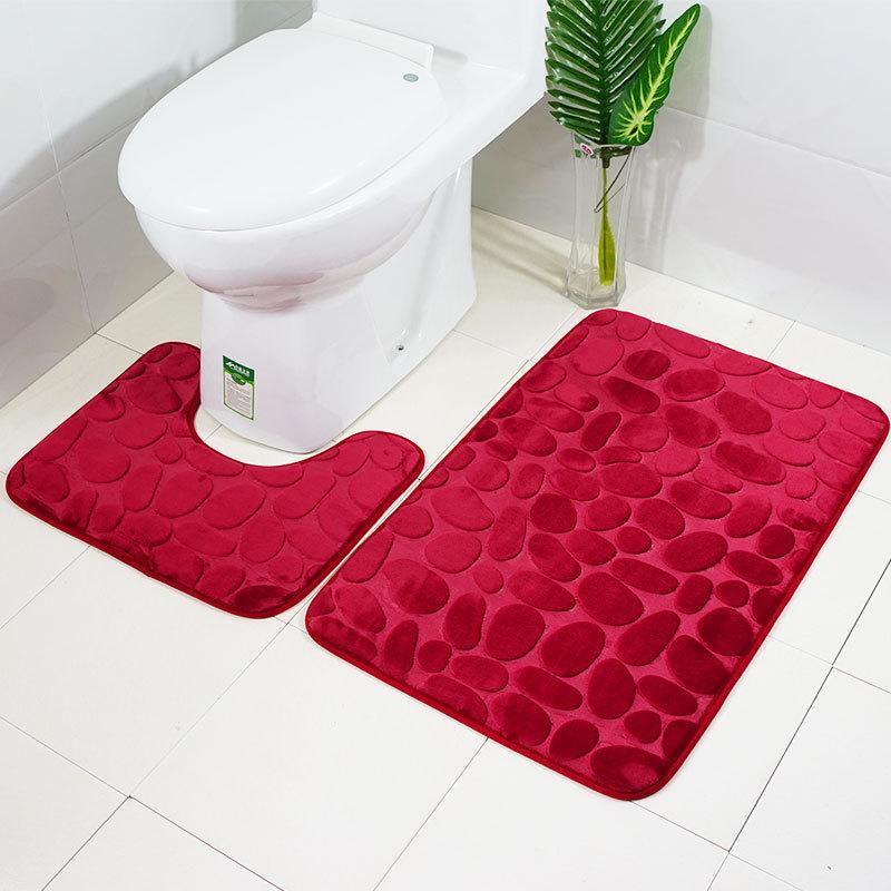 Venda quente 3d ganso ovo pedra banheiro dois peça conjunto de água banheiro absorção de água e anti-deslizante tapete tapete