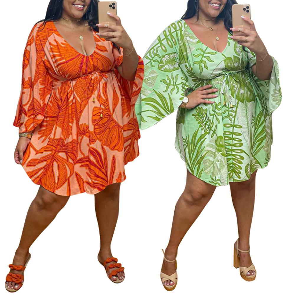 Последние летние женщины свежее свободное платье с листьев печати пружины плюс размер l - 5xL сексуальная V-образная выречка бабочка