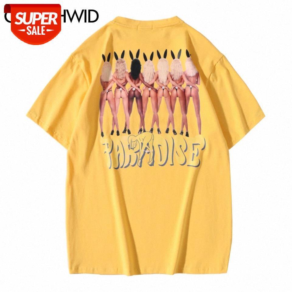 T-shirt Sommer Männer Streetwear Sexy Kaninchen Mädchen drucken Kurzarm T-shirt Casual Harajuku Hip Hop Baumwolle Tees Tops männlich # EG1e