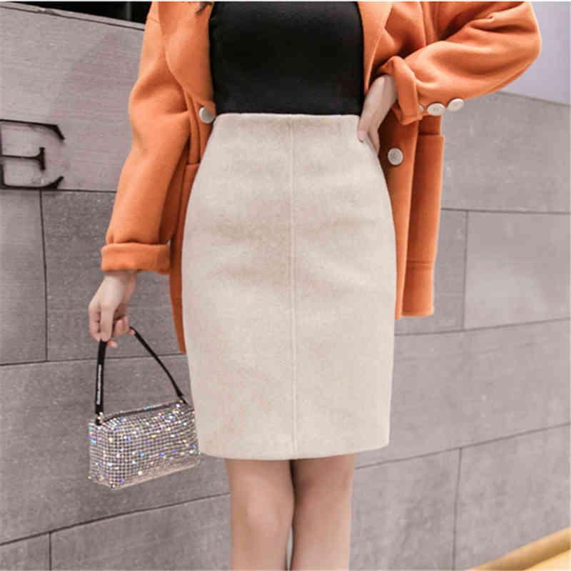 Neophil 2021 Summer Black Thick Woolen Mini Pencil Skirts Women Casual Slim High Waist Ladies Office Work Wear Wool Saias S9221 210325