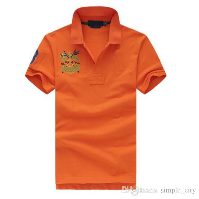 남자 캐주얼 폴로 셔츠 큰 말 자수 면화 스포츠 폴로스 짧은 소매 티셔츠 티셔츠 S-XXL 하얀 하늘 파란색 오렌지