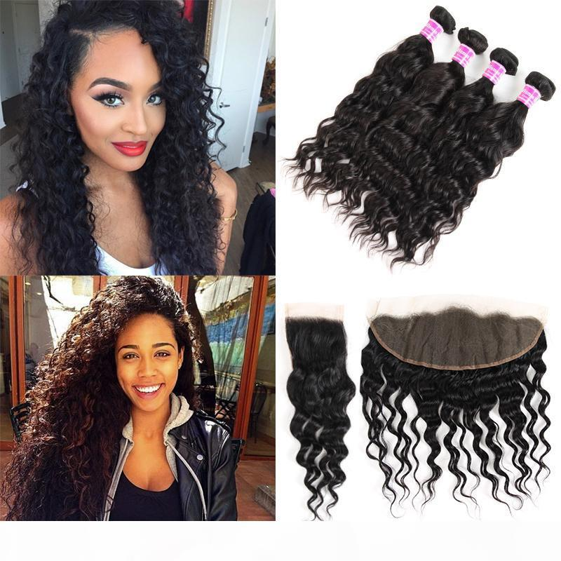 Raw Indian Malaysian Peruvian Water Wave Human Hair Vendors Remy Weave Bundles With Lace Frontal Closure Black Color Hair Extensions Wefts