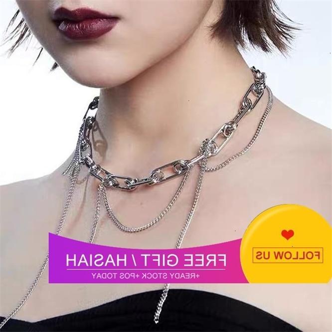 2021 novo design de moda borla colar estilo legal pin individual splicing clavícula curto pescoço corrente
