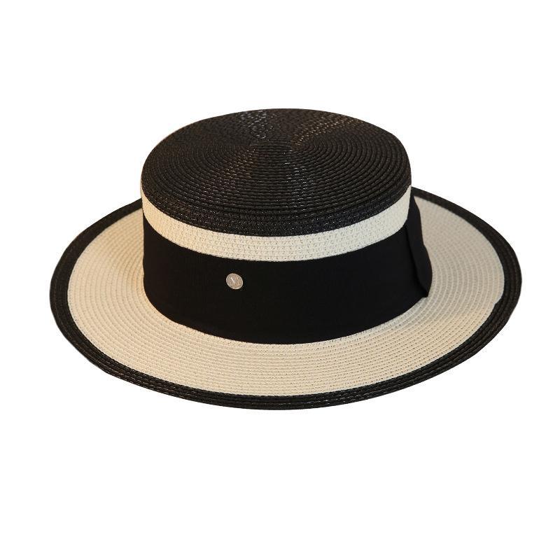 2021 Sombreros de playa al aire libre de verano para vacaciones Hepburn Estilo adulto Ajustable Paja plana Contrato de color Sunhats