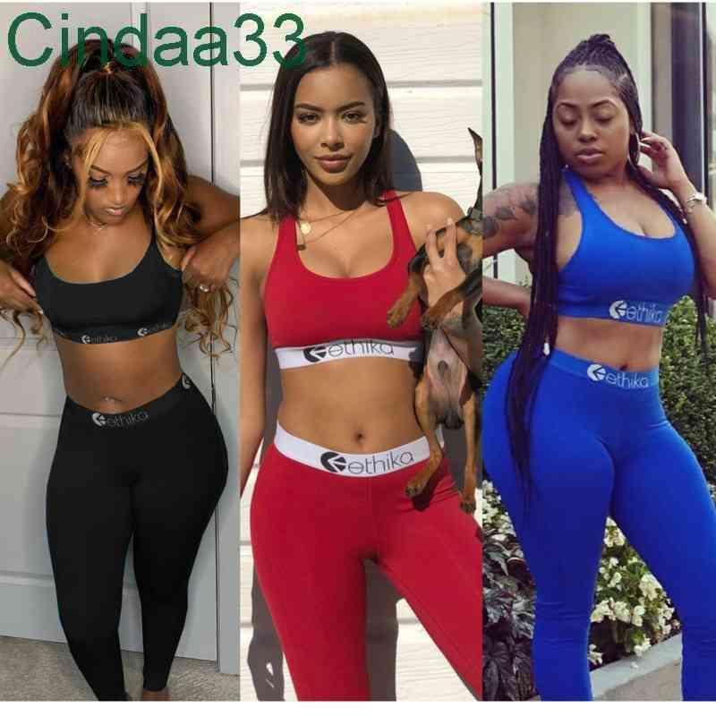 Women Bra Tracksuit Sleeveless Bras Vest + Pants Legging 2 Piece Set Summer Outfits ETWS3 Fitness GYM Sportswear Crop 2021