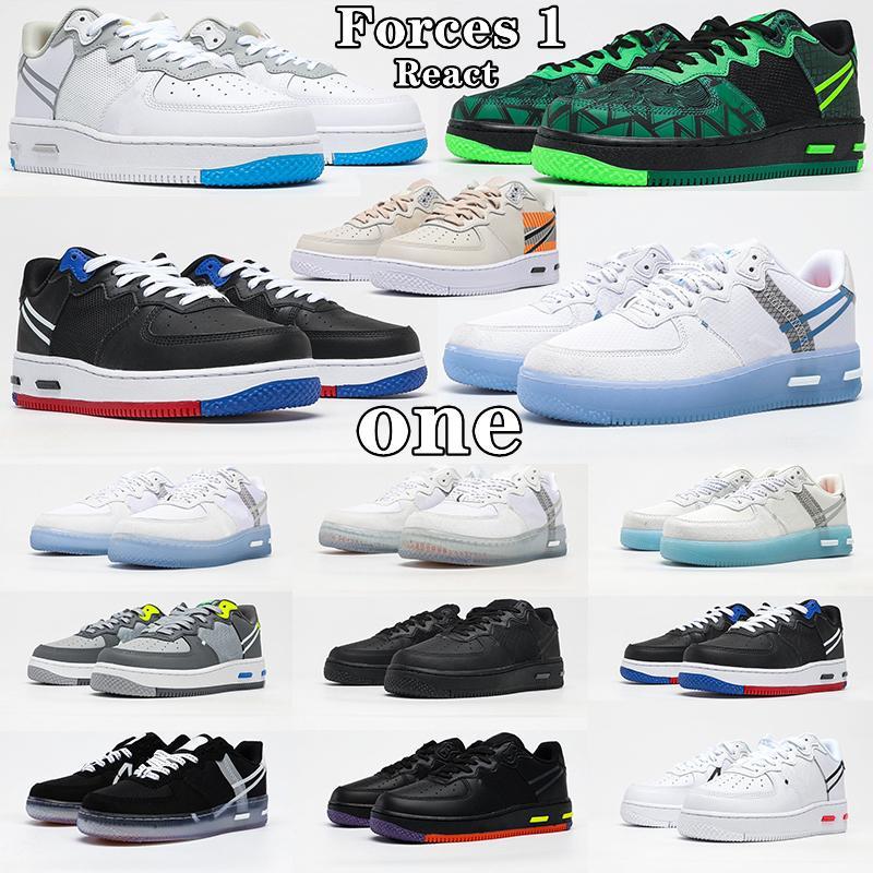 2021 NOUVEAUX ARRIVÉRES Forces 1 Réagir Qs Shadow Show Shoes Femmes Baskets Femmes Boîtes Skateboard Blanc Femmes Mans Sports Sneakers EUR 36-45