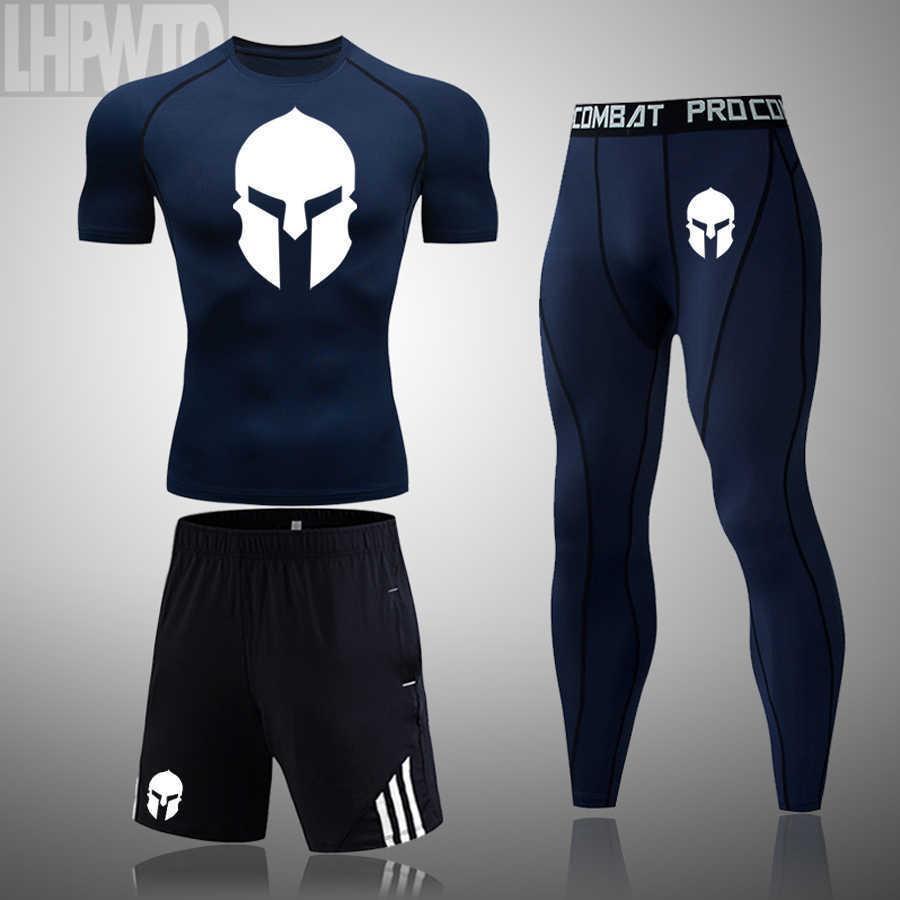 Spartanische Männer Sportswear, Neu im Sommer 2021, atmungsaktives Marke T-Shirt und Basketball-Trainingshose J0601