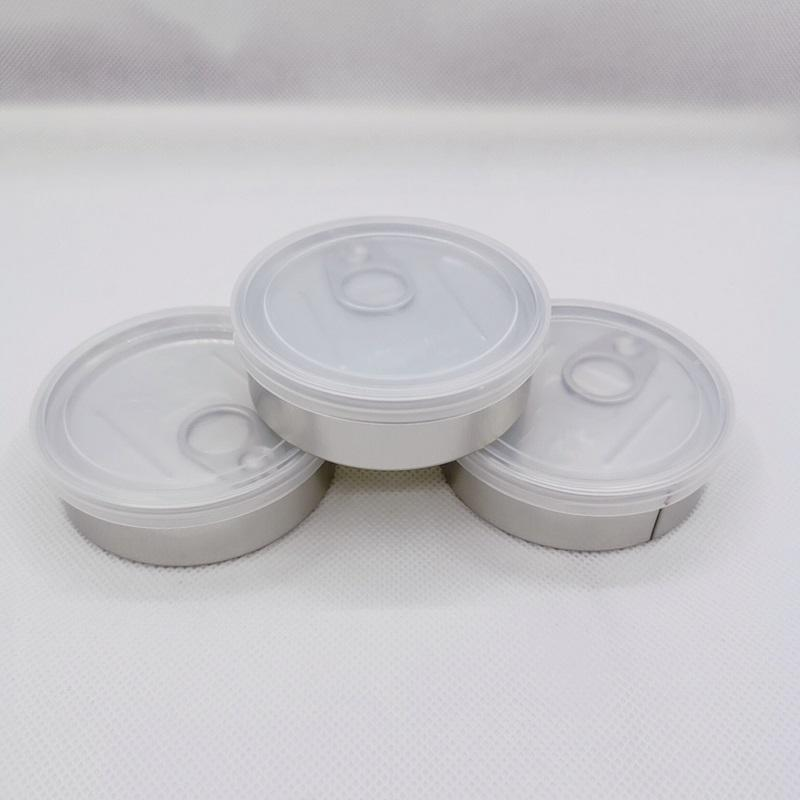 70x23mm self seal Packing Boxes press tin can no need machine Pressitin Loop Pop Top semll proof with ring pull cover for dry herb custom sticker label