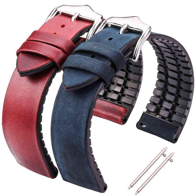 Bandes Hengrc Cowhide et Silicone Montre Bracelet Bracelet 18 20 22mm Hommes Femmes Watch Bandes d'horlogerie respirante Watchs Accessoires d'horloge
