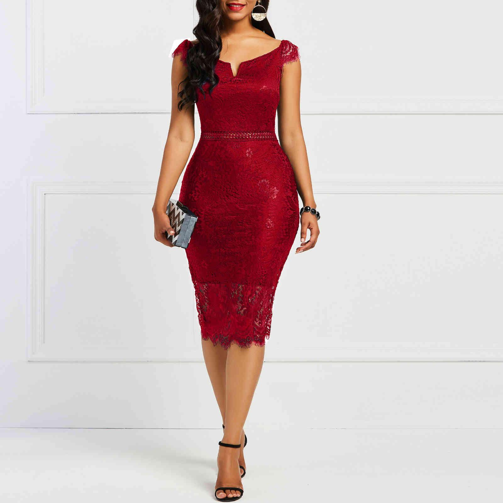 Vêtements à la mode Mode Femmes Vêtements Modycon Soirée Partie longue Dentelle Dentelle Robe décontractée Dresses Robes Femmes Élégant pour Dame