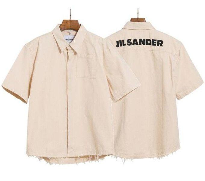 20ss Jil Sander Kısa Gömlek Rahat Tee Boyama Vintage Kollu Yaz Sokak Erkek Kadın T-shirt Hfymtx640 Tops