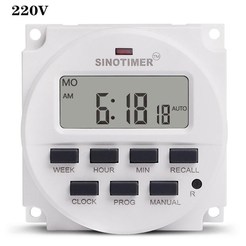 LCD 1.6 pulgadas Digital 220V 230 VC 7 días Interruptor de temporizador programable con relé listado por UL Interior y tiempo de cuenta atrás Temporizadores de funciones