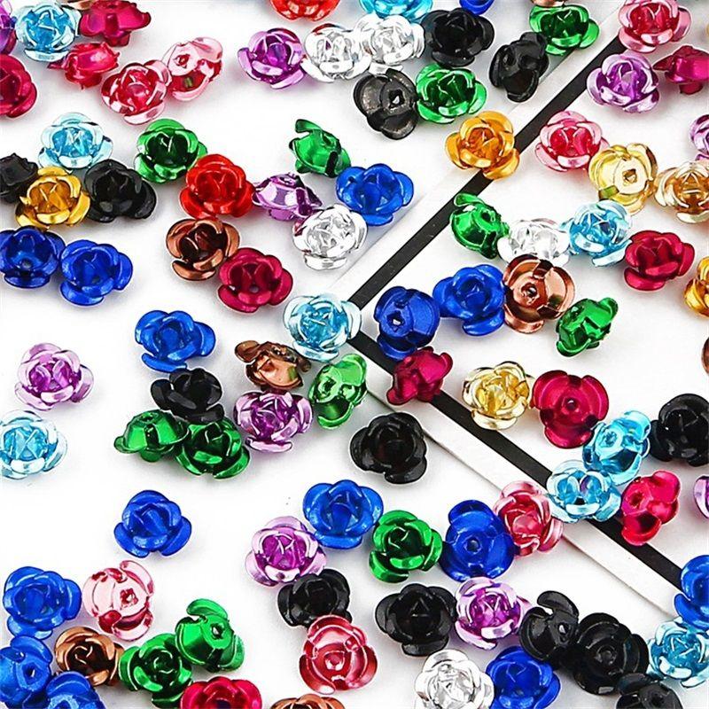 100pcs Rose Flower Aluminum Jewelry Making Spacer Beads 6mm/8mm/12mm For Bracelet 1892 Q2