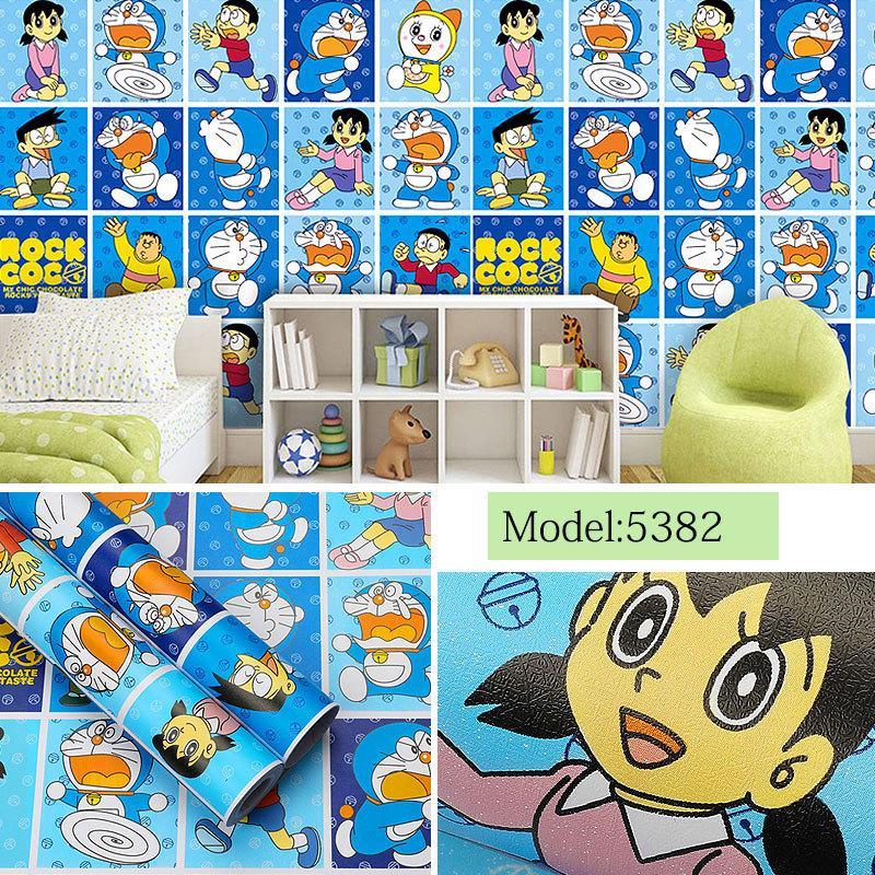 Pegatinas de pared PVC gruesa autoadhesiva wallpaper de dibujos animados chica corazón cálido cuarto de niño Doraemon Dormitorio etiqueta tamaño 10m * 45cm