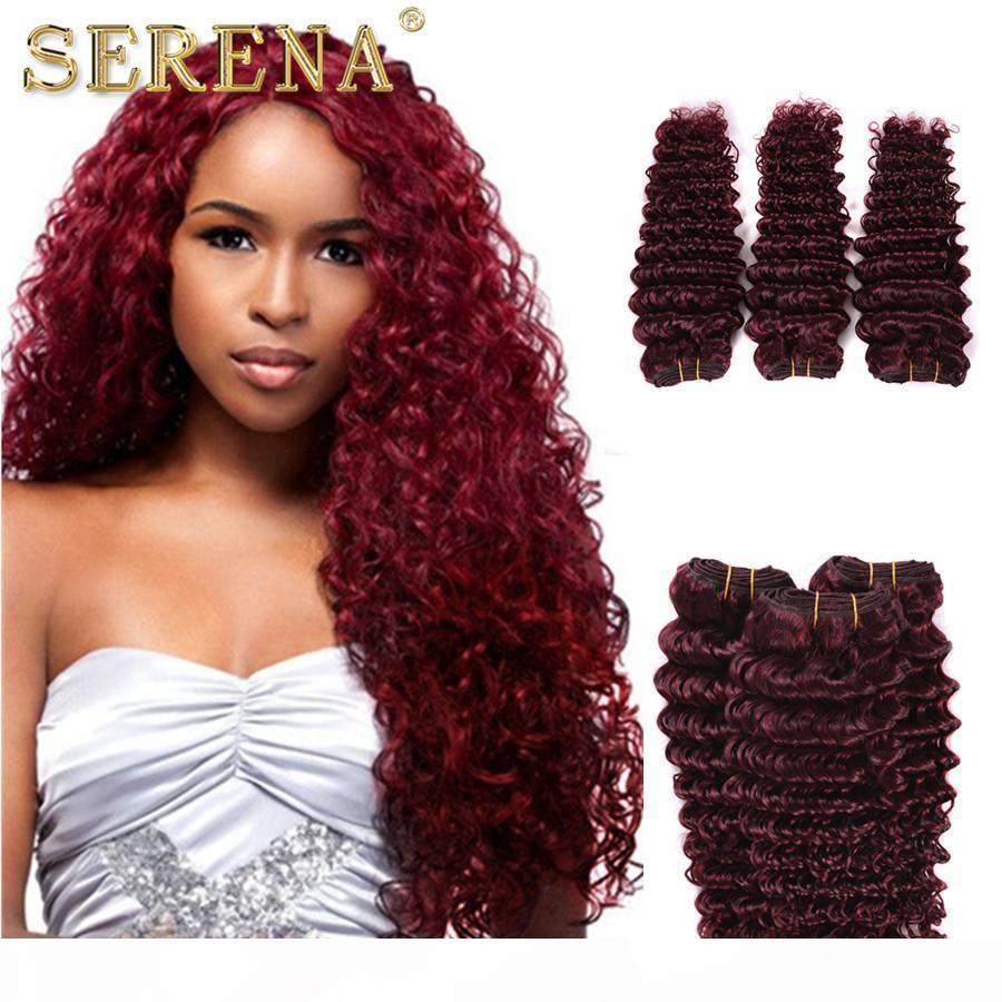 7A grau peruano 3 pacotes 99J Profundamente encaracolado cabelo humano pacotes Borgonha profunda onda humana pêlos tece vinho vermelho peruano peruano extensões de cabelo barato