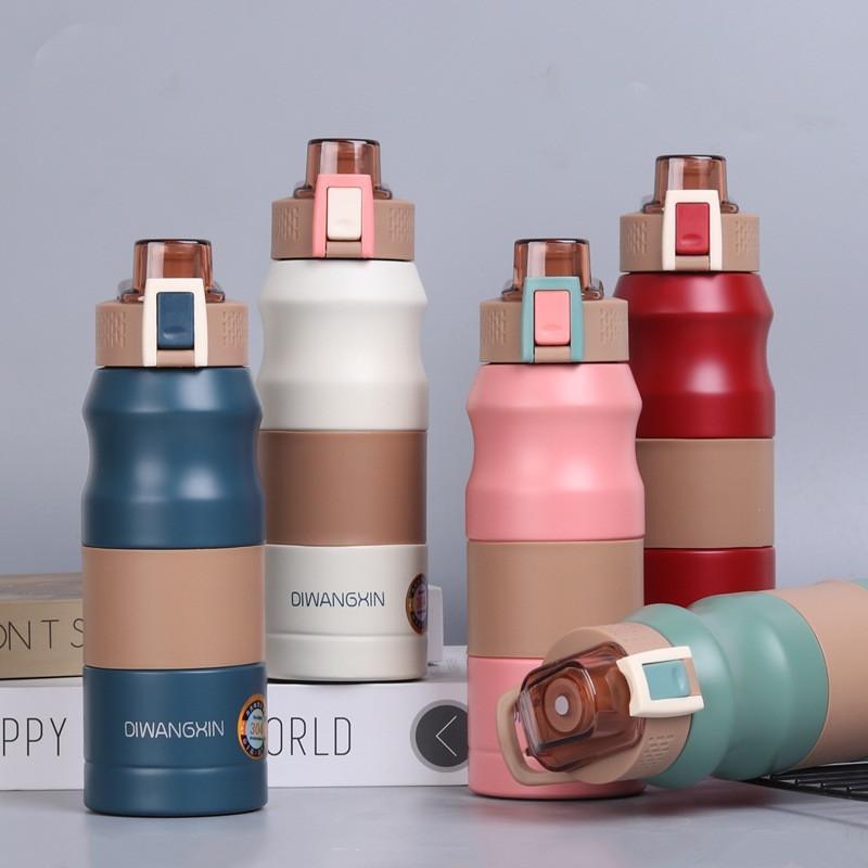 فراغ معزول زجاجة مياه مضادة للانزلاق الفولاذ المقاوم للصدأ السفر التخييم البهلوان الشرب المباشر مع أغطية 500ML 680ML