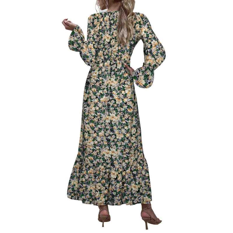 Mujer lunares / vestido floral, manga de hojaldre cuello redondo vestido de cintura media otoño vestidos de ropa casual