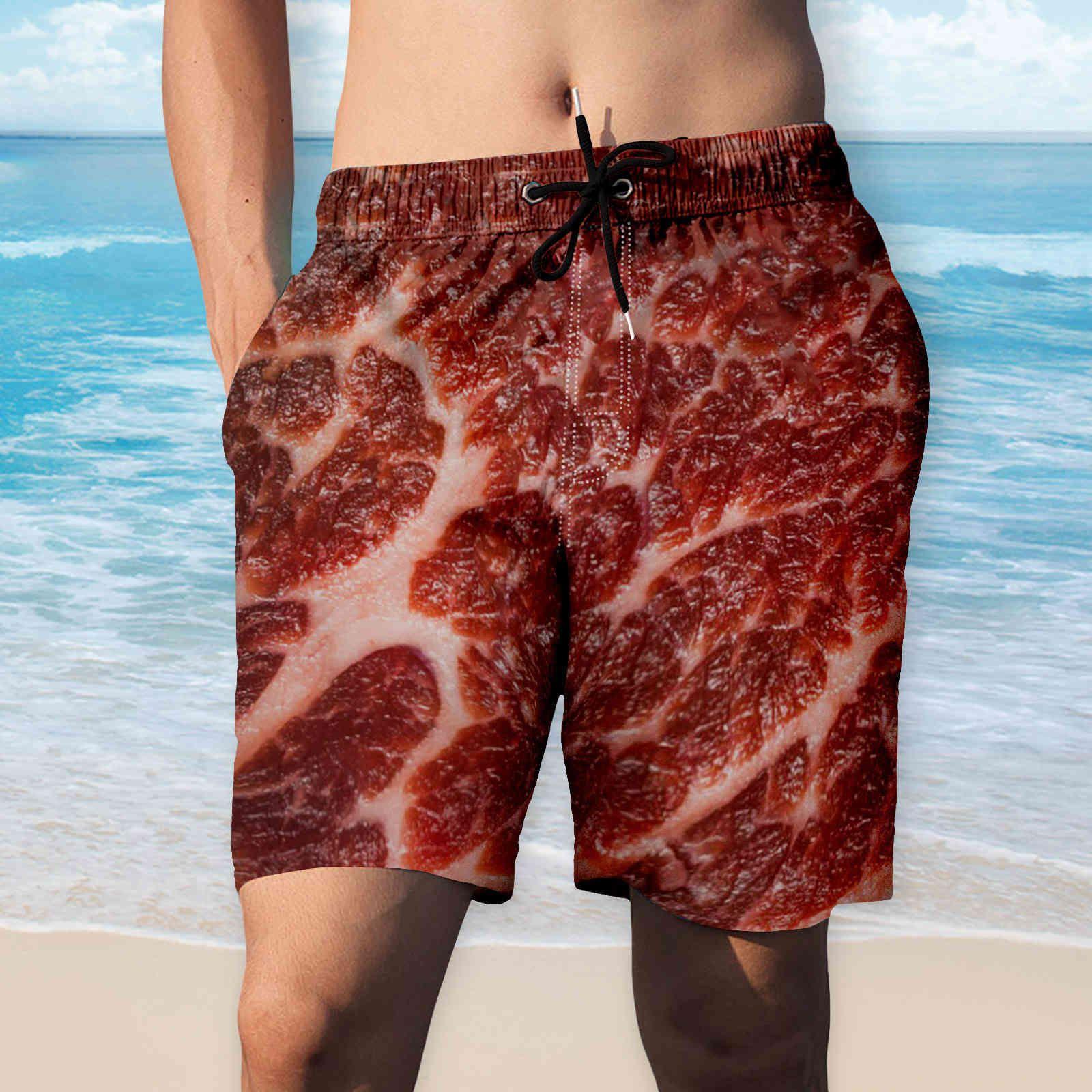 Hombre 3D Cerdo Belly Salchicha Impreso Verano Suelo Quick Dry Beach Board Brand Streetwear Boardshorts BeachShorts Pantalones cortos