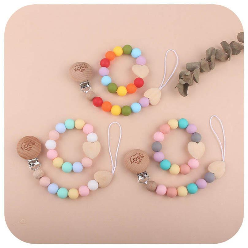 Baby Pacifier Holders Chain Clips Weaning Teething Natural Wooden Silicone Beads Pacifiers Newborn Teeth Practice Toys Infant Feeding Teether 2Pcs/Sets B8137