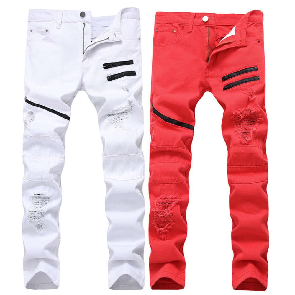 Men's Zipper Casual Jeans White Red Hole Decoration Multi-chain Non-stretchy Slim Straight Men's Clothing Europe and America