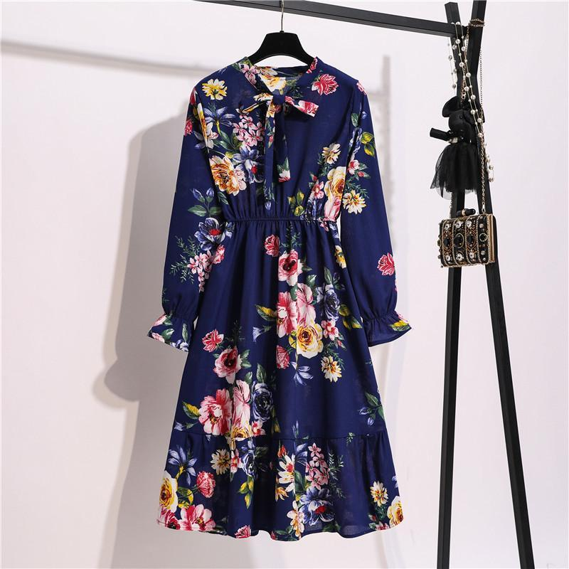 Manga Longa Floral Imprimir Ruffle Chiffon Vestido Bow Laço Colar Uma Linha Midi Mulheres Casuais Vestidos Vestidos