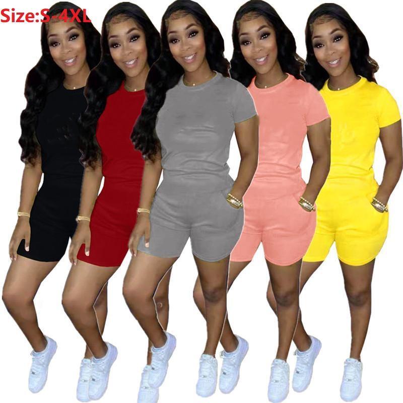 النساء رياضية زائد الحجم S-4XL قصيرة الأكمام 2 قطعة مجموعات القمصان + السراويل الصيف الطاقم الرقبة الركض دعوى إلكتروني ملابس بسط الرياضية بلون الملابس
