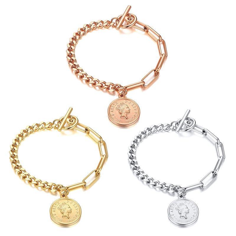 Elizabeth Coin Charm Bracelets for Women Anti Allergy Stainless Steel Rectangle Link Chain Trendy women's jewelry bracelet 3 Colors